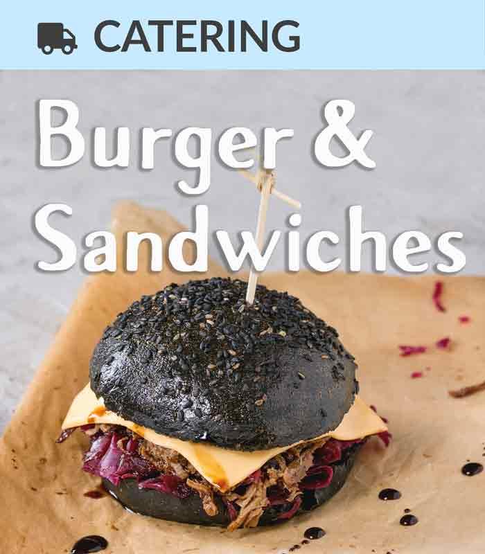 Catering Foodtruck Burger & Sandwiches mit Burger im Hintergrund