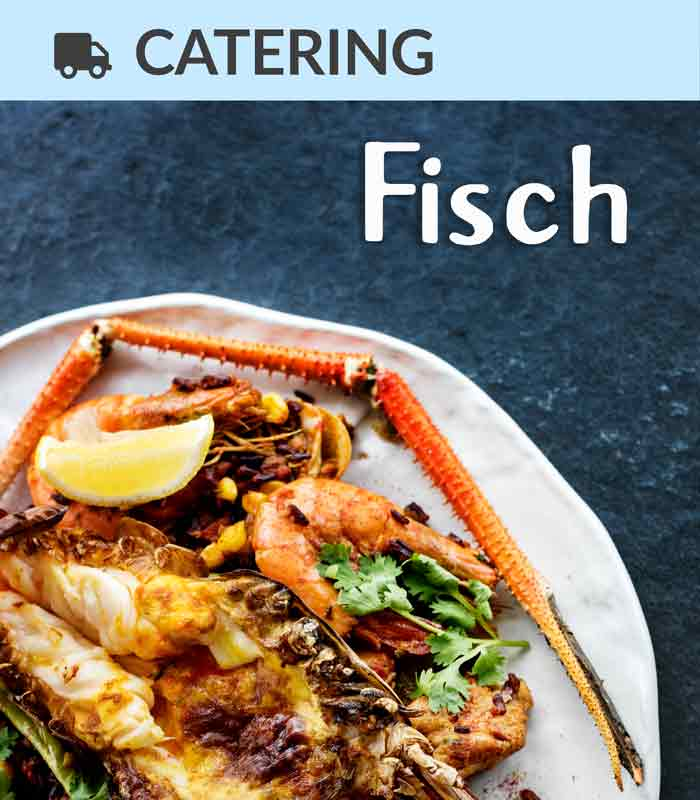 Catering Foodtruck Fisch mit Meeresfrüchte im Hintergrund
