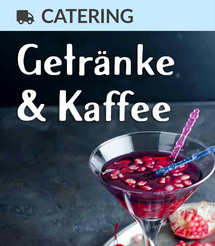 Catering Foodtruck Getränke & Kaffee mit einem Cocktail im Hintergrund