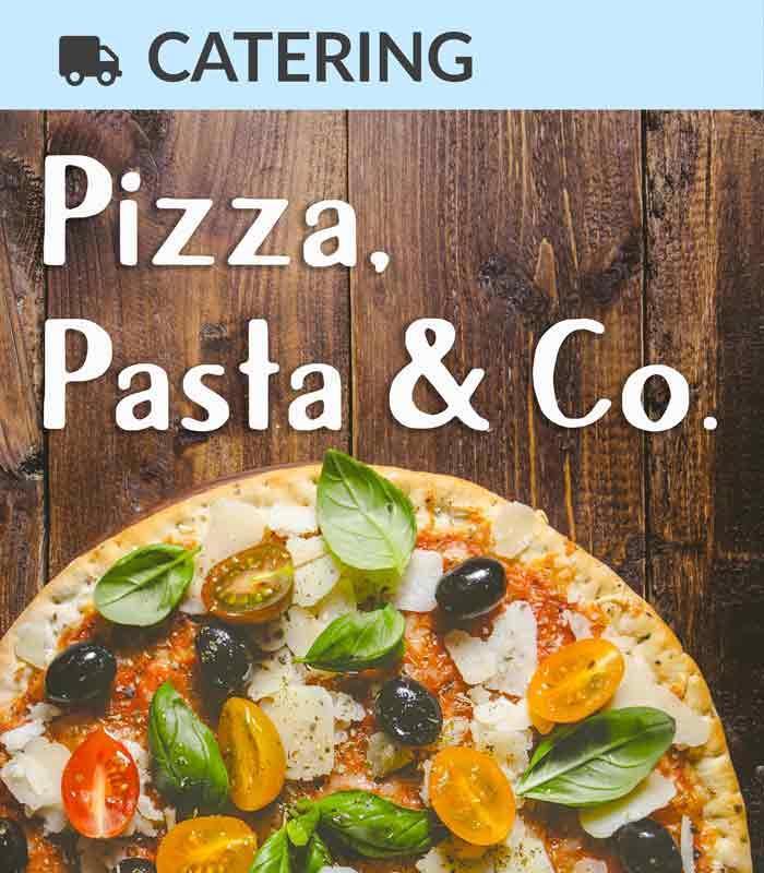 Catering Foodtruck Pizza, Pasta & Co. mit einer Pizza im Hintergrund