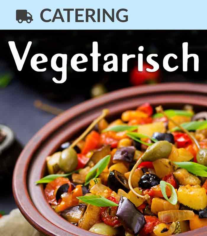 Catering Foodtruck Vegetarisch mit einer Gemüsepfanne im Hintergrund