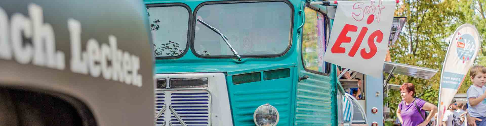 Foodtruck Citroen HY blau Softeis Fahne